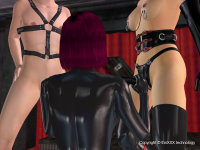Bisex mit 2 Frauen in Fetish 3D