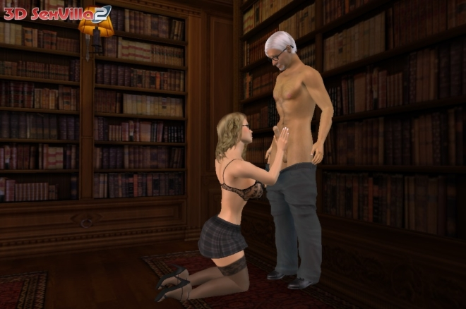 Blowjob in der Bibliothek - 3D Sex Villa 2